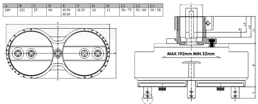 Głowica wiertarska regulowana LAZZ-768 - schemat